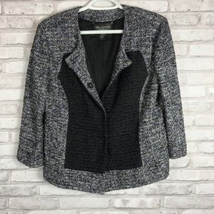 St John Couture Tweed Black Drape Blazer Jacket 10
